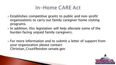  Establishes competitive grants to public and non-profit organizations to carry out family caregiver home visiting programs.  In addition, this legislation.