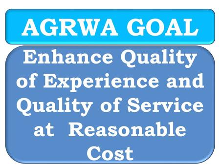 AGRWA GOAL Enhance Quality of Experience and Quality of Service at Reasonable Cost.