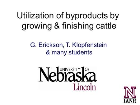 Utilization of byproducts by growing & finishing cattle G. Erickson, T. Klopfenstein & many students.