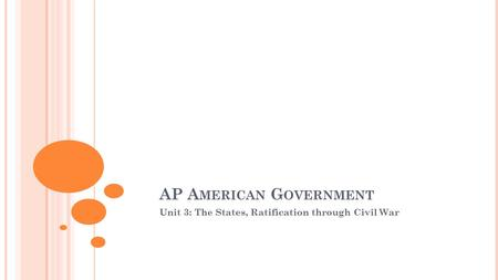 AP A MERICAN G OVERNMENT Unit 3: The States, Ratification through Civil War.