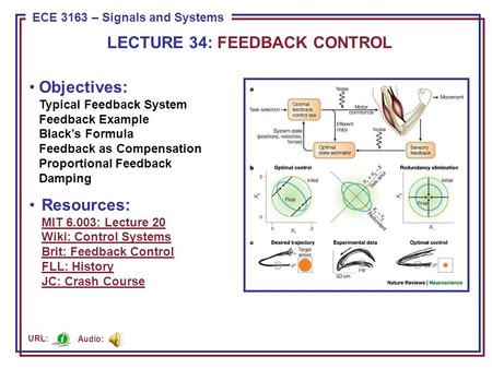 ECE 8443 – Pattern Recognition ECE 3163 – Signals and Systems Objectives: Typical Feedback System Feedback Example Black's Formula Feedback as Compensation.