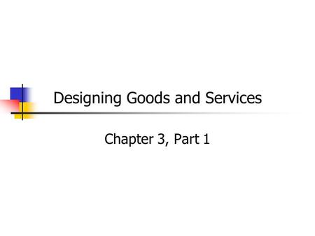 Designing Goods and Services Chapter 3, Part 1. Operations and Operations Strategy Designing an Operations System Managing an Operations System Done We.