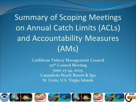 Summary of Scoping Meetings on Annual Catch Limits (ACLs) and Accountability Measures (AMs) Caribbean Fishery Management Council 131 st Council Meeting.