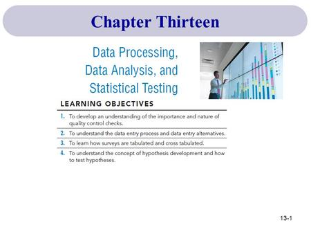 Chapter Thirteen 13-1. Validation & Editing Coding Machine Cleaning of Data Tabulation & Statistical Analysis Data Entry Overview of the Data Analysis.