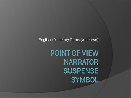 English 10 Literary Terms (week two). Point of view  Is the perspective from which a story is told.