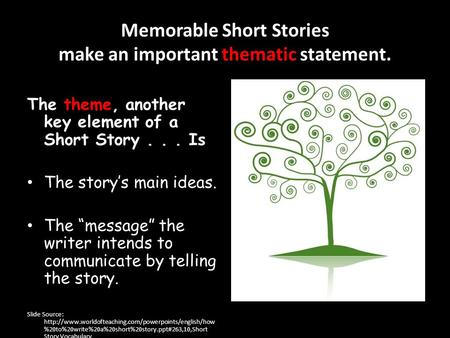 "Memorable Short Stories make an important thematic statement. The theme, another key element of a Short Story... Is The story's main ideas. The ""message"""
