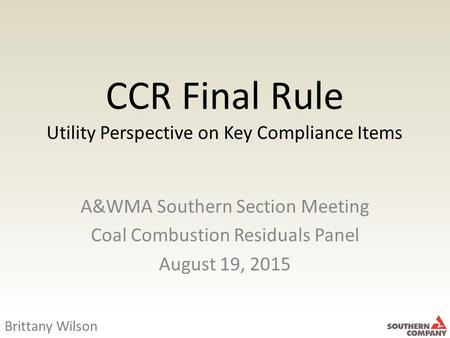 CCR Final Rule Utility Perspective on Key Compliance Items