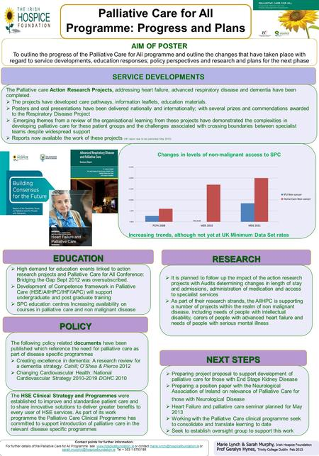 AIM OF POSTER To outline the progress of the Palliative Care for All programme and outline the changes that have taken place with regard to service developments,