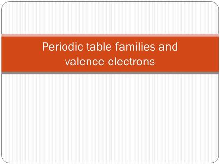 Periodic table families and valence electrons. Valence electron Valence electrons are the electrons contained in the outermost, or valence, electron shell.