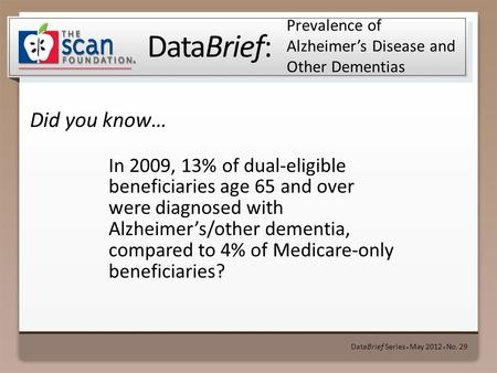 DataBrief: Did you know… DataBrief Series ● May 2012 ● No. 29 Prevalence of Alzheimer's Disease and Other Dementias In 2009, 13% of dual-eligible beneficiaries.