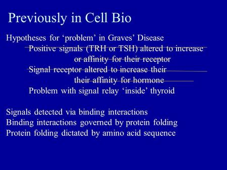 Previously in Cell Bio Hypotheses for 'problem' in Graves' Disease Positive signals (TRH or TSH) altered to increase amount or affinity for their receptor.