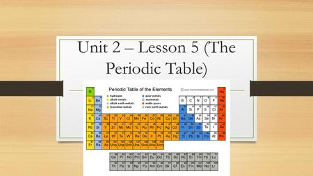 Unit 2 – Lesson 5 (The Periodic Table)