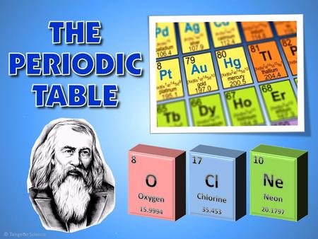1) Introducing the Periodic Table Increasing atomic number Dmitri Mendeleev Atomic number, atomic mass, element name, element symbol, oxidation number.