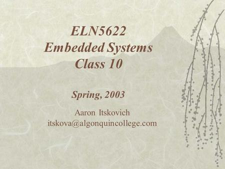 ELN5622 Embedded Systems Class 10 Spring, 2003 Aaron Itskovich