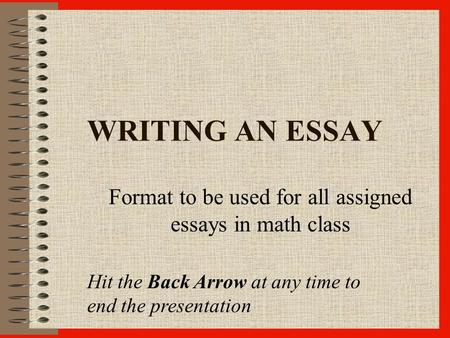 math problem solving in mathematics course description this  writing an essay format to be used for all assigned essays in math class hit the