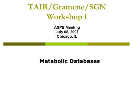 TAIR/Gramene/SGN Workshop I ASPB Meeting July 08, 2007 Chicago, IL Metabolic Databases.