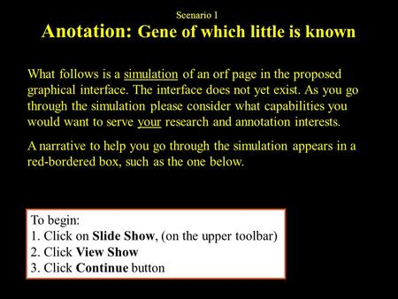Anotation: Gene of which little is known What follows is a simulation of an orf page in the proposed graphical interface. The interface does not yet exist.
