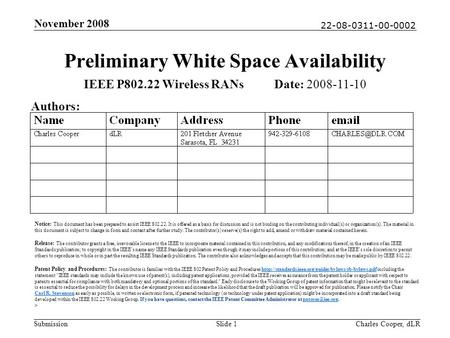22-08-0311-00-0002 Submission November 2008 Charles Cooper, dLRSlide 1 Preliminary White Space Availability IEEE P802.22 Wireless RANs Date: 2008-11-10.