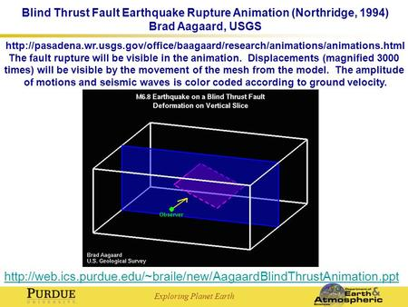Exploring Planet Earth Blind Thrust Fault Earthquake Rupture Animation (Northridge, 1994) Brad Aagaard, USGS