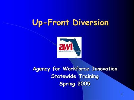 1 Up-Front Diversion Agency for Workforce Innovation Statewide Training Spring 2005.