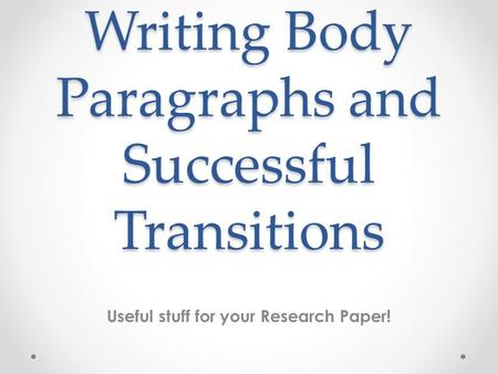 transitions in research papers