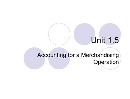Unit 1.5 Accounting for a Merchandising Operation.