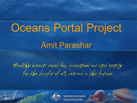 Oceans Portal Workshop 30 th March 2004 Healthy oceans: cared for, understood and used wisely for the benefit of all, now and in the future healthy oceans: