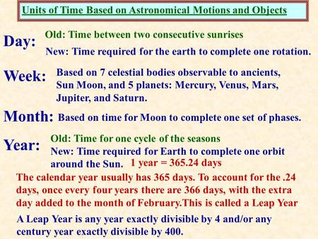 Units of Time Based on Astronomical Motions and Objects Day: New: Time required for the earth to complete one rotation. Week: Based on 7 celestial bodies.