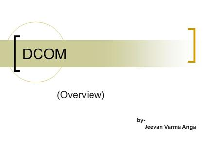 DCOM (Overview) by- Jeevan Varma Anga.