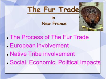 The Fur Trade in New France The Process of The Fur Trade The Process of The Fur Trade European involvement European involvement Native Tribe involvement.