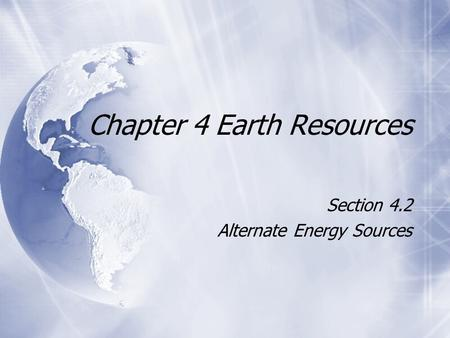 Chapter 4 Earth Resources