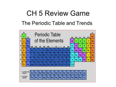 The Periodic Table and Trends