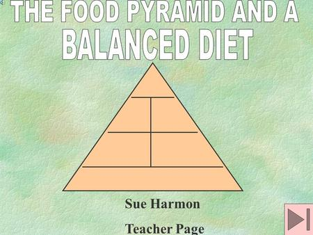 Sue Harmon Teacher Page should be based on: energy needs food preferences nutrient requirements as represented on the food pyramid.