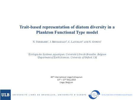 Trait-based representation of diatom diversity in a Plankton Functional Type model N. T ERSELEER 1, J. B RUGGEMAN 2, C. L ANCELOT 1 AND N. G YPENS 1 1.