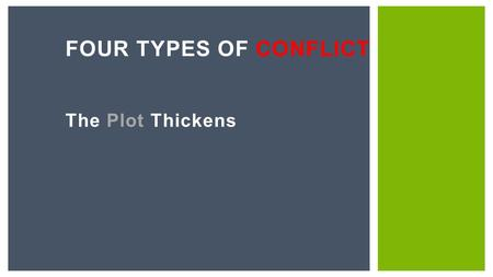 The Plot Thickens FOUR TYPES OF CONFLICT. A conflict is a problem that the main character or characters face. Examples An arctic adventurer struggles.