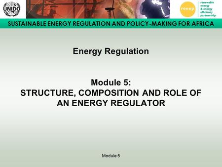 SUSTAINABLE ENERGY REGULATION AND POLICY-MAKING FOR AFRICA Module 5 Energy Regulation Module 5: STRUCTURE, COMPOSITION AND ROLE OF AN ENERGY REGULATOR.