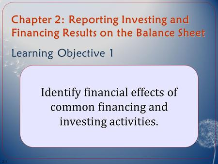 Chapter 2: Reporting Investing and Financing Results on the Balance Sheet Learning Objective 1 Identify financial effects of common financing and investing.