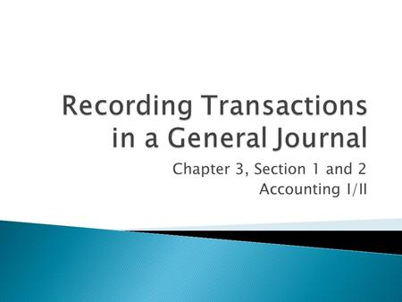 Chapter 3, Section 1 and 2 Accounting I/II.  1 st step – T-Accounts  2 nd step – Journalizing Debit Credit.