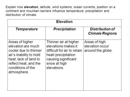 Explain how elevation, latitude, wind systems, ocean currents, position on a continent and mountain barriers influence temperature, precipitation and distribution.