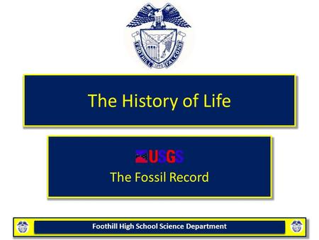 Foothill High School Science Department The History of Life The Fossil Record.