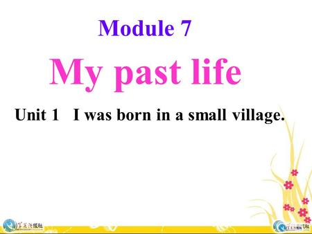 Module 7 My past life Unit 1 I was born in a small village.