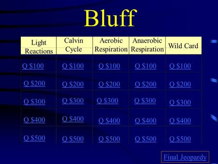 Bluff Light Reactions Calvin Cycle Aerobic Respiration Anaerobic Respiration Wild Card Q $100 Q $200 Q $300 Q $400 Q $500 Q $100 Q $200 Q $300 Q $400.