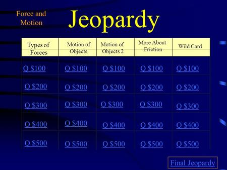 Jeopardy Types of Forces Motion of Objects Motion of Objects 2 More About Friction Wild Card Q $100 Q $200 Q $300 Q $400 Q $500 Q $100 Q $200 Q $300 Q.