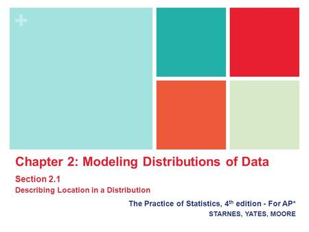 + Chapter 2: Modeling Distributions of Data Section 2.1 Describing Location in a Distribution The Practice of Statistics, 4 th edition - For AP* STARNES,