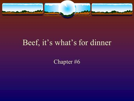 Beef, it's what's for dinner Chapter #6. What is a Breed? ba group of animals that have certain traits in common bcolor bsize bbody structure bplace of.