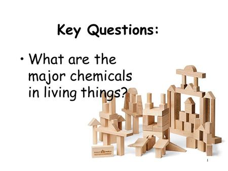 1 Key Questions: What are the major chemicals in living things?