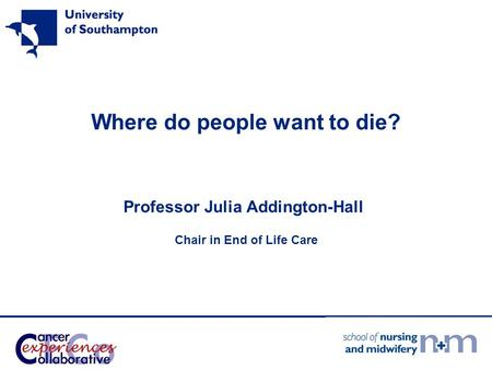 Where do people want to die? Professor Julia Addington-Hall Chair in End of Life Care.