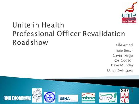 Unite in Health Professional Officer Revalidation Roadshow Obi Amadi Jane Beach Gavin Fergie Ros Godson Dave Munday Ethel Rodrigues 2015.