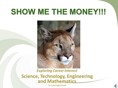 SHOW ME THE MONEY!!! Exploring Career Interest Science, Technology, Engineering and Mathematics Cy-Creek High School $$