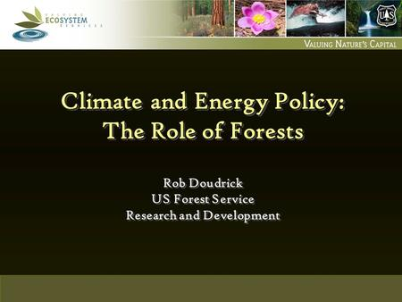 US Forest Service GHG and Energy Modeling Climate and Energy Policy: The Role of Forests Rob Doudrick US Forest Service Research and Development.